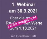 1. Webinar am 30.9.2021 über neue Gebühren und Werte ab 1.10.2021